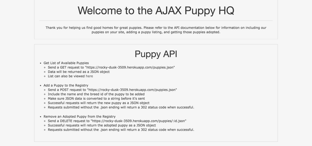 Screenshot of AJAX Puppy HQ