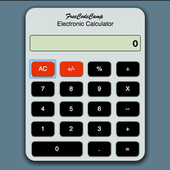 Screenshot of JavaScript calculator