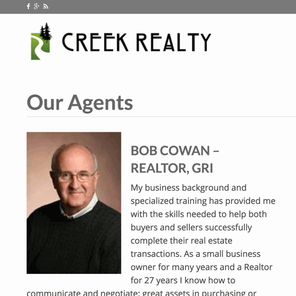 Screenshot of Creek Realty home page